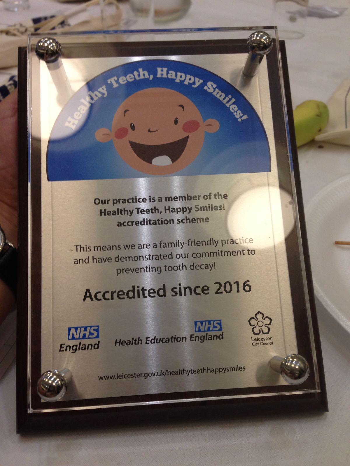 Healthy Teeth, Happy Smiles Accreditation!